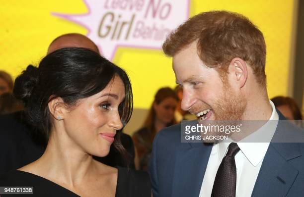 Britain's Prince Harry and his fiancee US actress Meghan Markle attend a reception for Women's Empowerment at the Royal Aeronautical Society in...