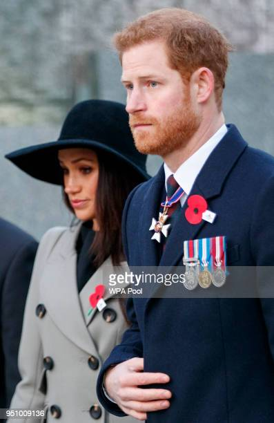 Britain's Prince Harry and his US fiancee Meghan Markle attend an Anzac Day dawn service at Hyde Park Corner on April 25 2018 in London England Anzac...