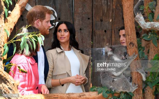 Britain's Prince Harry and his wife Meghan meet a koala named Ruby and its koala joey named Meghan after the Duchess of Sussex during a visit to...