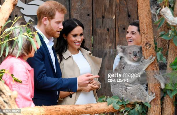 Britain's Prince Harry and his wife Meghan meet a koala named Ruby and its koala joey named Meghan after the Duchess of Sussex as New South Wales...