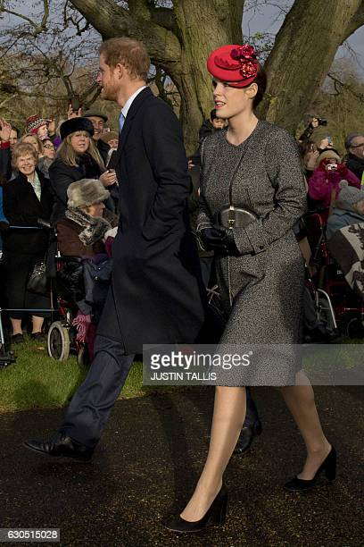 Britain's Prince Harry and Princess Eugenie arrive to attend a Christmas Day church service at St Mary Magdalene Church in Sandringham Norfolk...