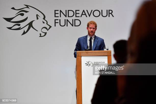 Britain's Prince Harry annouces the winner of the Henry Worsley Award during the annual Endeavour Fund Awards at Goldsmiths' Hall in London on...