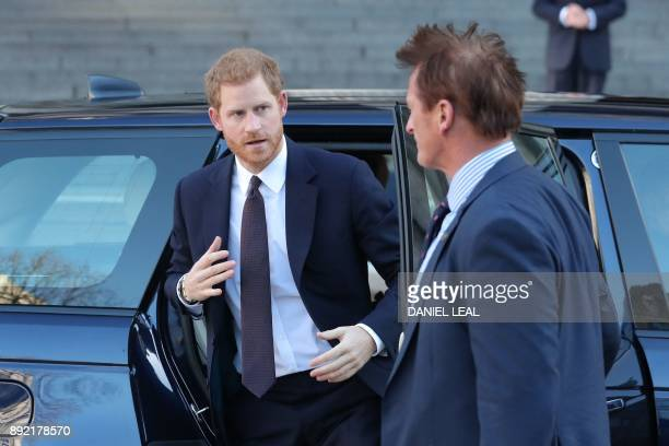 Britain's Prince Harry arrives at St Paul's cathedral for a Grenfell Tower National Memorial service on December 14 2017 in central London The fire...