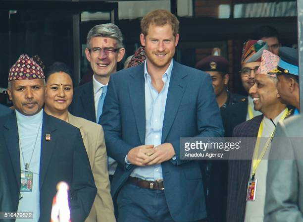 Britain's Prince Harry arrives at Tribhuvan International Airport in Kathmandu Nepal on March 19 2016