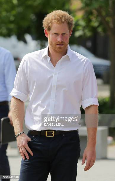 Britain's Prince Harry arrives for a visit to the Double Jab Boxing Club in South East London on June 6 2016 to support Sport for Social Development...