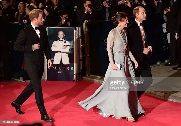 Britain's Prince Harry, Britain's Catherine, Duchess of Cambridge and Britain's William, Duke of Cambridge arrive for the world premiere of the new...