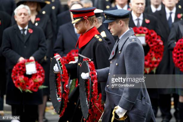 Britain's Prince Harry Britain's Prince William Duke of Cambridge and Britain's Prince Andrew Duke of York lay a wreath during the Remembrance Sunday...