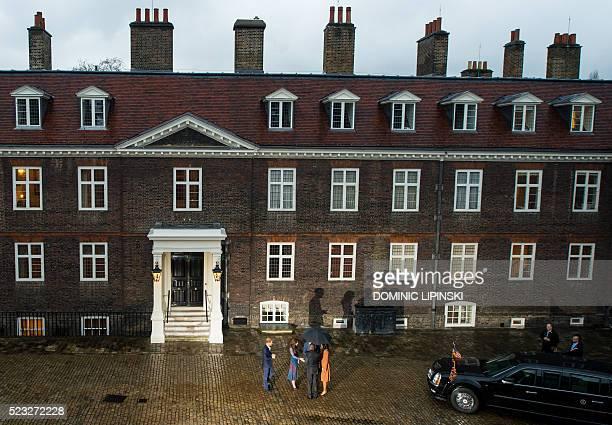 Britain's Prince Harry, Catherine, Duchess of Cambridge and Britain's Prince William, Duke of Cambridge, greet US President Barack Obama, US First...