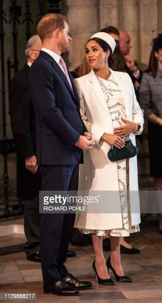 Britain's Prince Harry, Duke of Sussex, and Britain's Meghan, Duchess of Sussex attend the Commonwealth Day service at Westminster Abbey in London on...