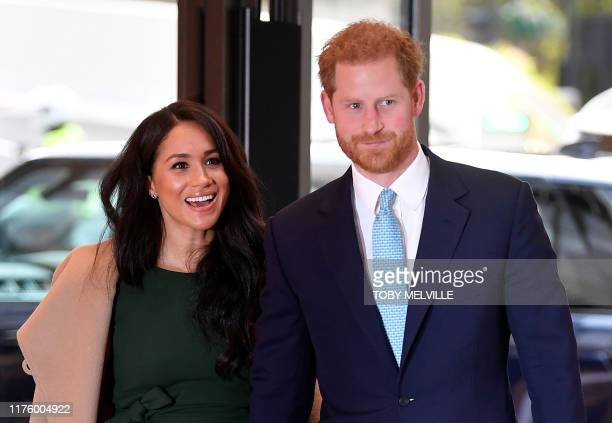 Britain's Prince Harry Duke of Sussex and his wife Meghan Duchess of Sussex attend the annual WellChild Awards in London on October 15 2019 WellChild...