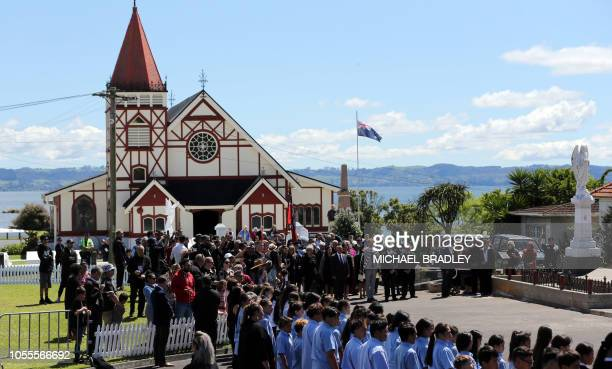 Britain's Prince Harry Duke of Sussex and Meghan Duchess of Sussex are welcomed onto the Te Papaiouru Marae with a traditional powhiri in Rotorua on...