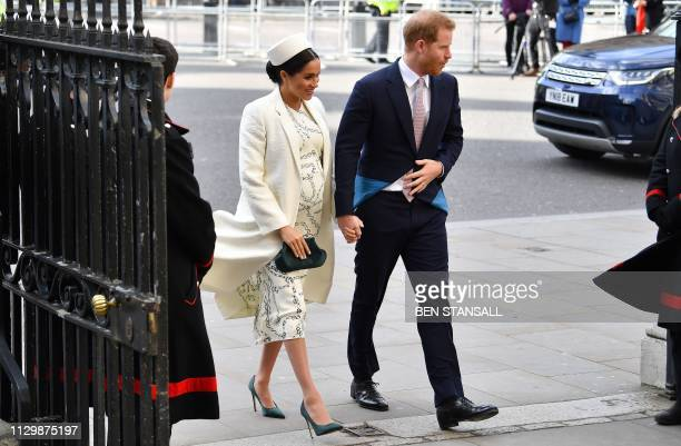 Britain's Prince Harry Duke of Sussex and Meghan Duchess of Sussex arrive to attend a Commonwealth Day Service at Westminster Abbey in central London...