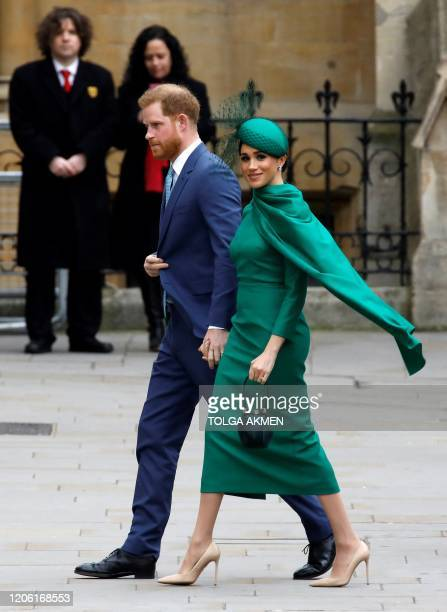 Britain's Prince Harry Duke of Sussex and Meghan Duchess of Sussex arrive to attend the annual Commonwealth Service at Westminster Abbey in London on...