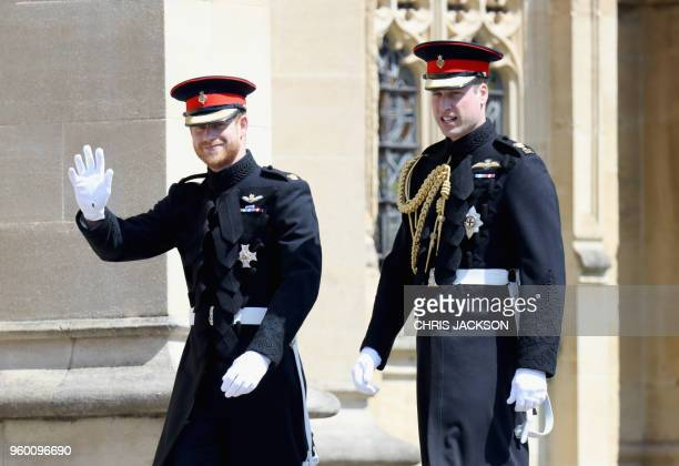 Britain's Prince Harry Duke of Sussex and Prince Harry's brother and best man Prince William Duke of Cambridge arrive for the wedding ceremony of...