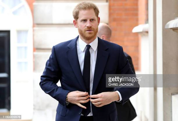 Britain's Prince Harry Duke of Sussex arrives at a garden party to celebrate the 70th anniversary of the Commonwealth at Marlborough House in London...