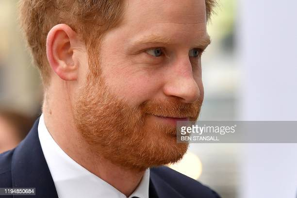 TOPSHOT Britain's Prince Harry Duke of Sussex arrives to attend the UKAfrica Investment Summit in London on January 20 2020