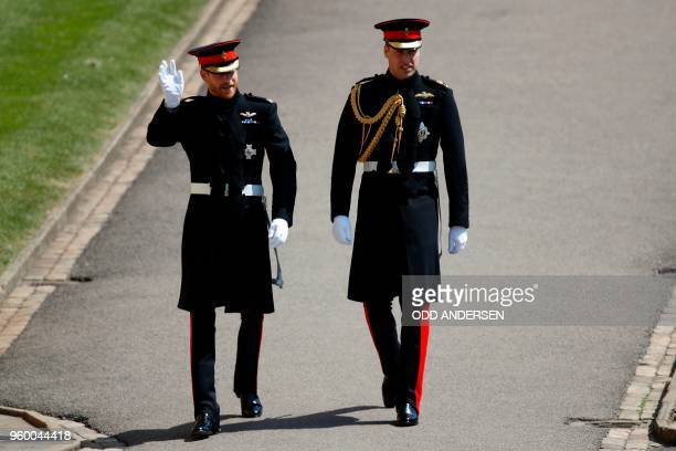 Britain's Prince Harry Duke of Sussex arrives with his best man Prince William Duke of Cambridge at the West Door of St George's Chapel Windsor...