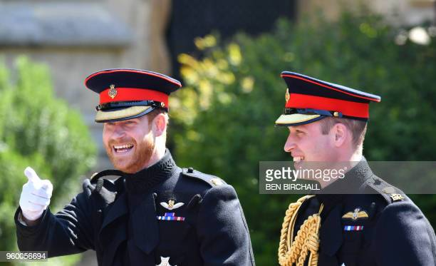 TOPSHOT Britain's Prince Harry Duke of Sussex arrives with his best man Prince William Duke of Cambridge at the West Door of St George's Chapel...