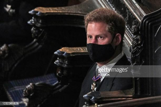 Britain's Prince Harry, Duke of Sussex attends the funeral service of Britain's Prince Philip, Duke of Edinburgh at St George's Chapel at Windsor...