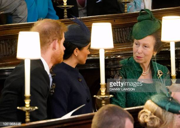 Britain's Prince Harry Duke of Sussex Britain's Meghan Duchess of Sussex and Britain's Princess Anne Princess Royal attend the wedding ceremony of...