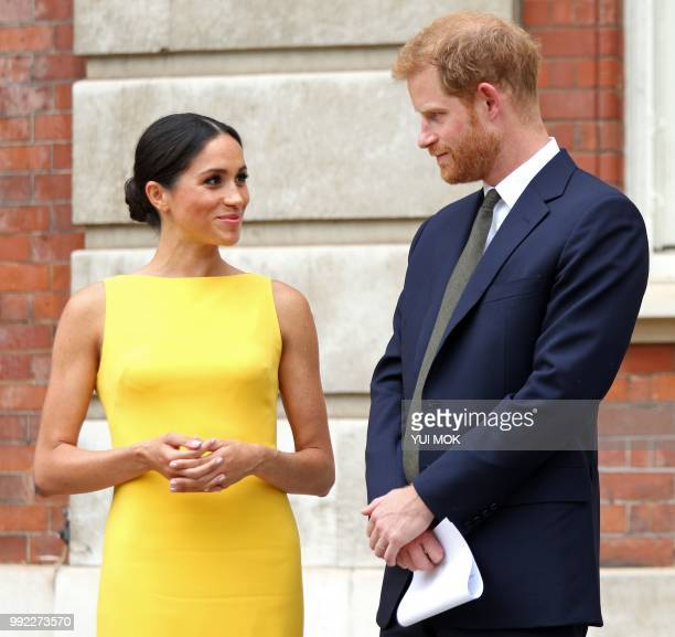 Britain's Prince Harry Duke of Sussex Britain's Meghan Duchess of Sussex arrive to attend a reception marking the culmination of the Commonwealth...