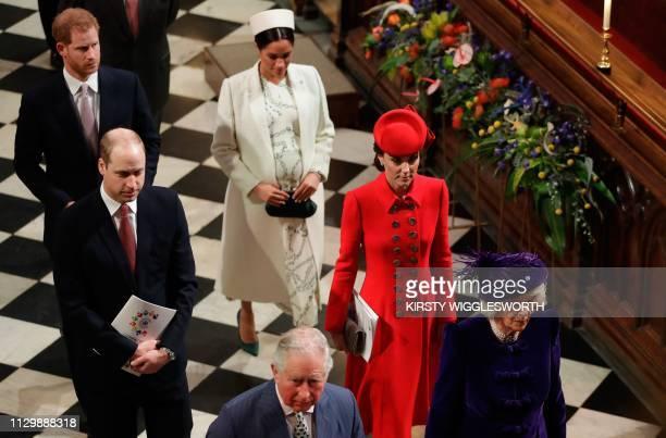 Britain's Prince Harry, Duke of Sussex, Britain's Prince William, Duke of Cambridge,, Britain's Meghan, Duchess of Sussex, Britain's Prince Charles,...