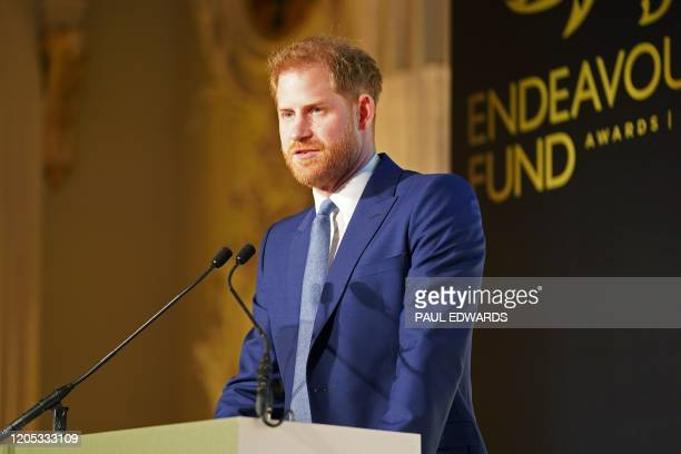 Britain's Prince Harry, Duke of Sussex delivers a speech during the Endeavour Fund Awards at Mansion House in London on March 5, 2020. - The...