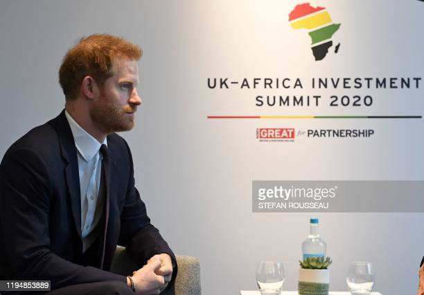 Britain's Prince Harry Duke of Sussex reacts as he meets with Morocco's Prime Minister SaadEddine El Othmani during the UKAfrica Investment Summit in...