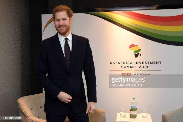 Britain's Prince Harry Duke of Sussex reacts as he waits to meet with Morocco's Prime Minister SaadEddine El Othmani during the UKAfrica Investment...