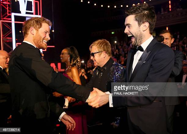 Britain's Prince Harry greets British comedian Jack Whitehall at the Royal Variety Performance at the Royal Albert Hall in London on November 13 2015...