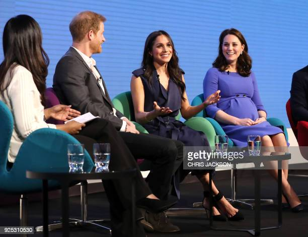 Britain's Prince Harry his fiancee US actress Meghan Markle and Britain's Catherine Duchess of Cambridge attend the first annual Royal Foundation...