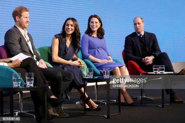 Britain's Prince Harry his fiancee US actress Meghan Markle Britain's Catherine Duchess of Cambridge and Britain's Prince William Duke of Cambridge...