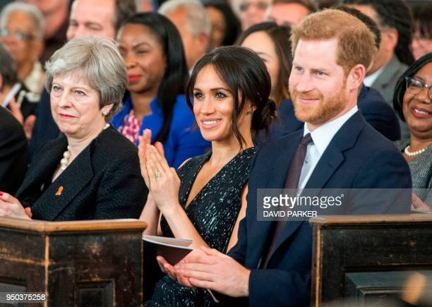 Britain's Prince Harry his US fiancee Meghan Markle and Britain's Prime Minister Theresa May attend a memorial service at St MartinintheFields in...