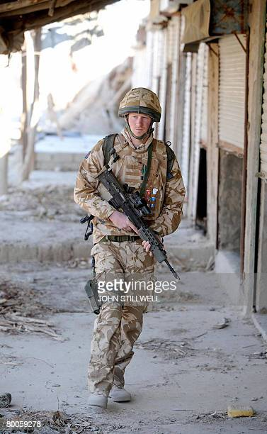 Britain's Prince Harry on patrol on January 02 through the deserted town of Garmisir close to FOB Delhi in Helmand province in Southern Afghanistan...