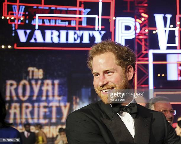 Britain's Prince Harry on stage after the Royal Variety Performance at the Albert Hall on November 13 2015 in London England