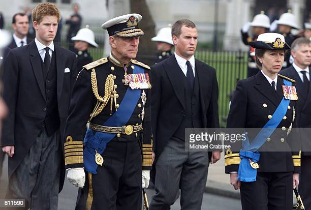 Britain's Prince Harry Prince Phillip Peter Phillips and Princess Anne walk behind the Royal coffin at the State Funeral of the Queen Mother April 9...