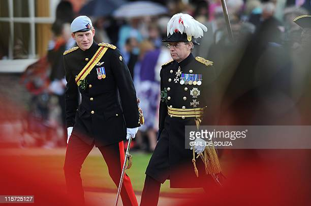 Britain's Prince Harry reviews Chelsea Pensioners during the annual Founders Day Parade at the Royal Hospital Chelsea, in London, on June 9, 2011....