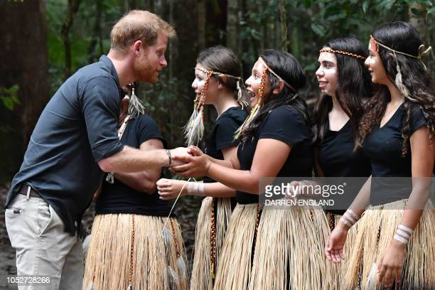 Britain's Prince Harry talks to members of the Butchulla people who are the traditional owners of Fraser Island during the unveiling of the Queen's...