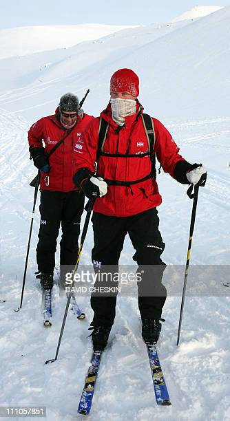 Britain's Prince Harry trains with the Walking with the Wounded team who have gathered on the island of Spitsbergen on March 29 situated between the...