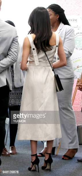 Britain's Prince Harry's fiancee US actress Meghan Markle attends a reception with delegates from the Commonwealth Youth Forum in central London on...