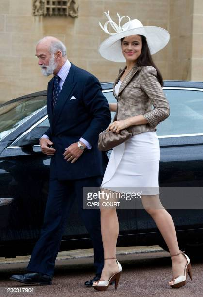 Britain's Prince Michael of Kent and his daughter-in-law Sophie Winkleman arrive with other members of the royal family arrive for a church service...