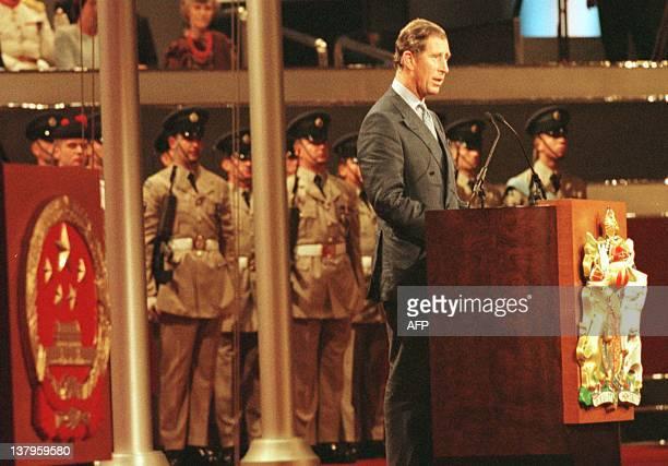 Britain's Prince of Wales delivers his speech during the ceremony commemorating the handover of Hong Kong to China at the Hong Kong Convention Center...