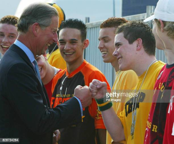 Britain's Prince of Wales meets the pop band Blazin Squad during the 'Party in the Park' event in Hyde Park More than 100000 pop fans filled London's...