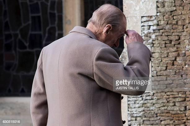 Britain's Prince Philip Duke of Edinburgh arrives to attend a Christmas Day church service at St Mary Magdalene Church in Sandringham Norfolk eastern...