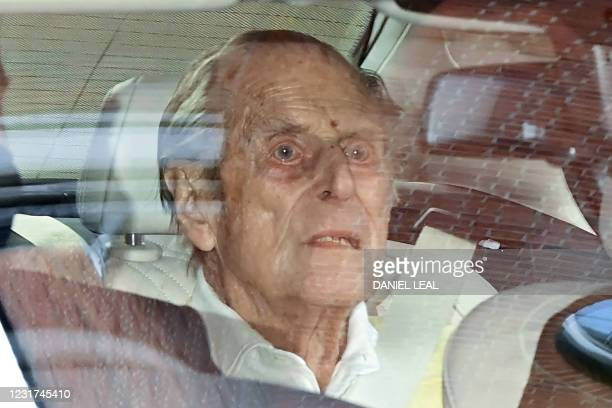 Britain's Prince Philip, Duke of Edinburgh leaves King Edward VII's Hospital in central London on March 16, 2021. - The 99-year-old husband of Queen...