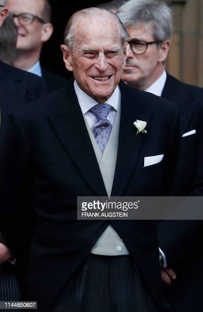 Britain's Prince Philip Duke of Edinburgh leaves St George's Chapel in Windsor Castle Windsor west of London on May 18 after the wedding of Lady...