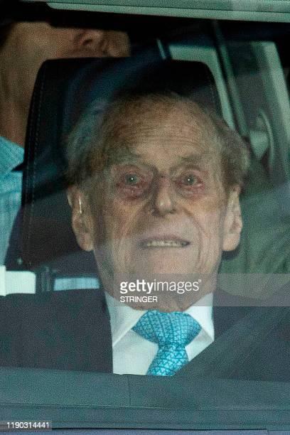 Britain's Prince Philip Duke of Edinburgh leaves the King Edward VII hospital in west London on December 24 2019 Britain's Prince Philip left a...