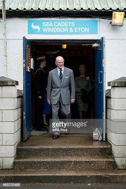 Britain's Prince Philip Duke of Edinburgh visits the Windsor Sea Cadet Unit on April 7 2014 in in Windsor England TS Windsor Castle is the oldest...
