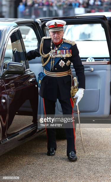 Britain's Prince Philip, The Duke of Edinburgh arrives to attend The Royal Marines 350th Anniversary Beating Retreat at Horseguards Parade in London...