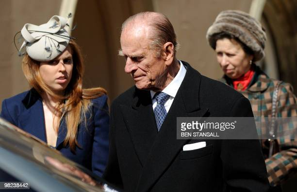 Britain's Prince Philip the Duke of Edinburgh Princess Beatrice and Princess Anne leave after attending an Easter Sunday church service in Windsor on...